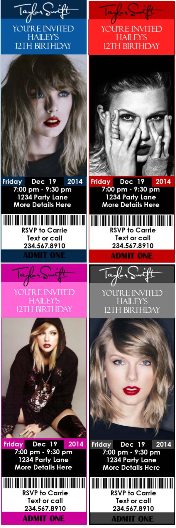 Diy Taylor Swift Party Printables
